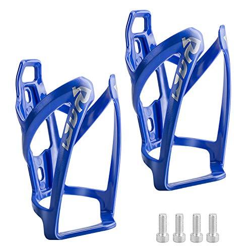 Suruid Porta Borraccia per Bici, Portaborraccia per Bicicletta MTB Leggero e Resistente per Ciclismo All'aperto con Viti - Confezione da 2 (Blu)