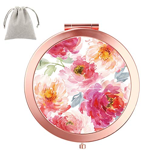 Dynippy Compact Mirror Round Rose Gold Makeup Mirror Folding Mini Pocket Mirror Portable Hand Mirror Double-Sided with 2 x 1x Magnification for Woman Mother Kids Great Gift (Watercolor Flower) Maine