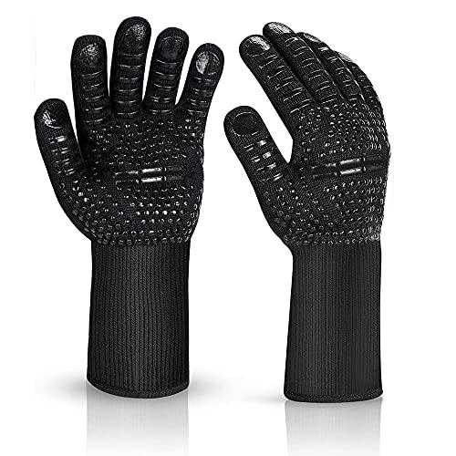 Grillhandschuhe Hitzebeständig mit 800 Grad Extrem Hitzebeständige Handschuhe Herren rutschfest Ofenhandschuhe Backhandschuhe Hitzehandschuh für Küche & Grill BBQ Ofenhandschuhe