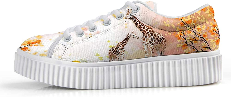 Owaheson Platform Lace up Sneaker Casual Chunky Walking shoes Low Top Women Giraffe Mum and Baby's Secret Garden