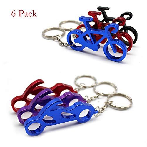 Mila-Amaz 6 Stück Aluminium Bier Flaschenöffner Bieröffner Taschenschlüssel Schlüssel Sammler Schlüsselanhänger mit Ring