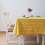 Meioro Manteles Mantel Rectangular Cubierta de Mesa de Lino de algodón Manteles de Sarga Simples Adecuado para la decoración de cocinas caseras, Varios tamaños(Amarillo,140×220cm)