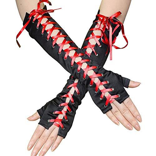 L.L.QYL Guantes Guantes Largos sin Dedos for Mujer Guantes con Cordones de satén Calentador de Brazos for Suministros de Fiesta, 3 Pares de Guantes de Noche Sexy (Color : Red)