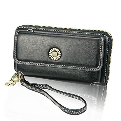 LETEULO Damen Geldbörse Handytasche Leder Clutch Wristlet Ladies Cross Body Handtasche schwarz