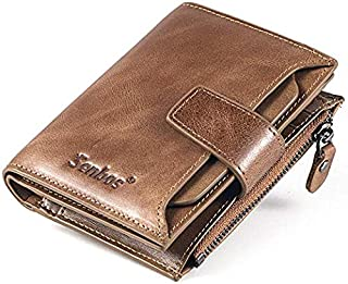 Mens Wallet Light Brown Genuine Cowhide RFID Blocking Soft Leather Wallet for Valentine's Day Father's Day