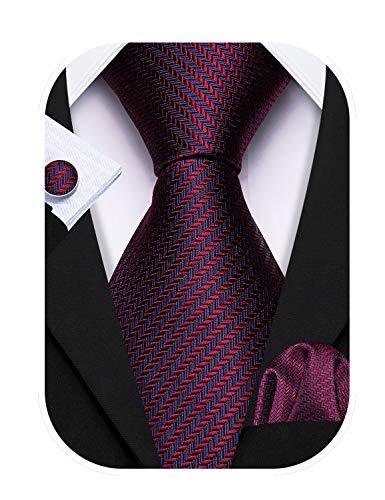 Barry.Wang Conjunto de corbata a rayas rojo oscuro para hombre bolsill