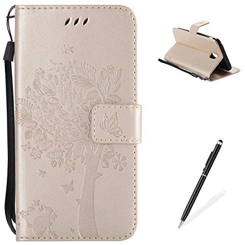For MAGQI Cover Samsung Galaxy J530/J5 2017 (EU Version) [Ultrasottile] [Tasca Porta Carte Di Credito] Funzione Di Staffa [Protezione Completa] Modello Di Gatto e Albero - Oro