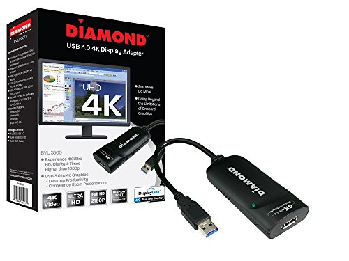 Diamond USB 3.0 to DisplayPort 4K UHD (Ultra-High-Definition) Video Graphics Adapter for Multiple Monitors up to 3840x2160 (DisplayLink DL-5500 Chipset - Supports Windows 10, 8.1, 8, 7)