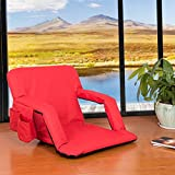 Sundale Outdoor Indoor Adjustable Floor Chair Five-Position Multiangle Stadium Seat Padded Recliner Gaming Chair with Back Support, Armrest and Two Pockets, Red