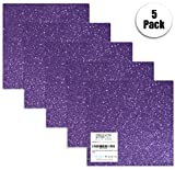 Purple Glitter Vinyl Sheets, 12' x 12' Ultra Glitter Adhesive Vinyl for Silhouette Cameo, Maker Explore, Stickers, Decals for Bottles by Turner Moore Edition (Purple Ultra Glitter, 5-pk)