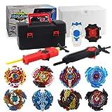 3T6B 8 Nouveau Toupies Nado, Toupie Turbo Burst avec 2 lanceurs , Gyro Pocket Box Pro-Cadeau pour Enfant