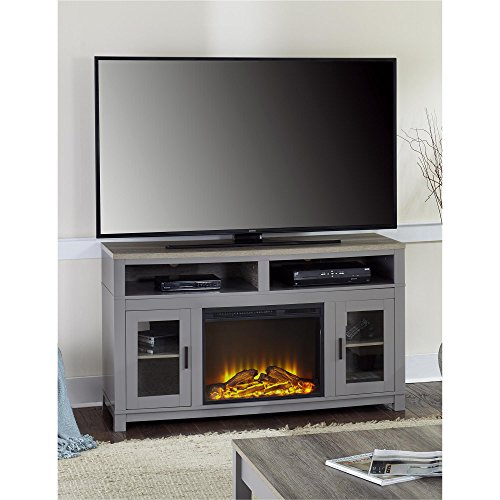 Ameriwood Home Carver Electric Fireplace TV Stand for TVs up to 60' Wide, Gray