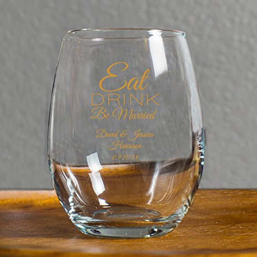 Personalized Eat Drink Be Married 9 Ounce Wine Glass, 144 Count Custom Printed in Gold, Bride to Be Wedding Reception Surprise