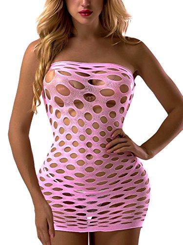 FasiCat Women's Mesh Lingerie Fishnet Babydoll Mini Dress Free Size Bodysuit Pink
