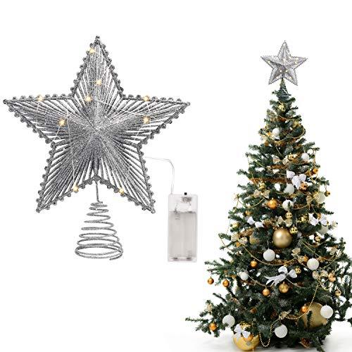 BELLE VOUS Puntale Stella Albero (24 x 22 cm) Punta Albero di Natale Argento - Tree Topper Xmas Stelle per Albero di Natale 3D - Decorazioni Natalizie con 18 Luci LED (Batteria Non Inclusa)