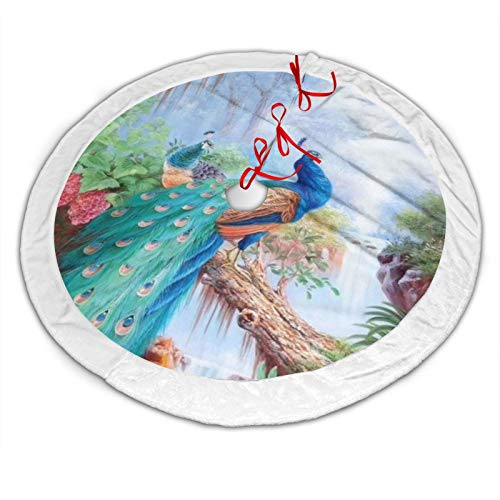 OESGAT Magic Forest Pond Peacock Tree Skirt,Christmas Tree Skirt 48',Xmas Tree Mat Party New Year Holiday Indoor Outdoor Decorations