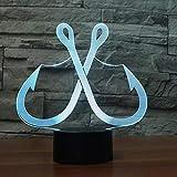 Led Nachtlicht-3D Vision-Sieben Farben-Fernbedienung-Gehe Zum Angellicht Angelhaken Yan Nachtlicht...