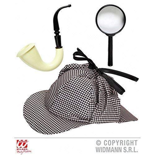 Lively Moments Detektiv Kostüm Set mit Mütze, Pfeife und Lupe/Ermittler Geheimagent Spion Zubehör 3-teilig