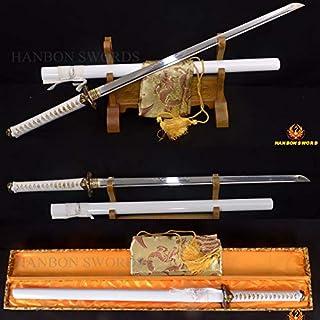 GUREN T10 Clay Tempered Japanese Samurai Ninja Sword Full Tang Straight Blade Sharp Alloy Dragon Tsuba Battle Ready CAN Cut BAMBOOS