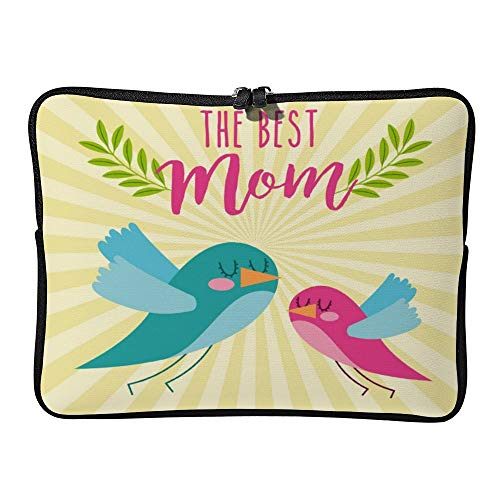 Best Mom Cute Flying Birds Laptop Sleeve for Women Notebook Computer Laptop Case Bags for Christmas Birthday Gifts 15-15.6 Inch