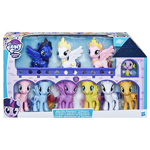 My Little Pony Friendship is Magic Toys Ultimate Equestria Collection – 10 Figure Set Including Mane 6, Princesses, and Spike the Dragon – Kids Ages 3 and Up