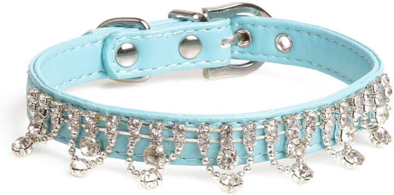 Pet Online Pet Collar pu Rhinestone Decorative Dog Collar,bluee,1.3×2630CM