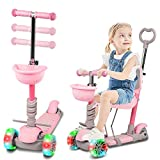 5 in 1 Kids Kick Scooter, Baby Walker with LED Light up Wheels