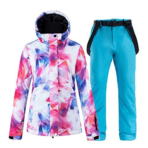 LXLTLB Conjunto de traje de nieve para invierno, impermeable, tirantes de esquí cálido, transpirable, traje de nieve y pantalones de esquí, impermeable, ajustable, para invierno, azul, S