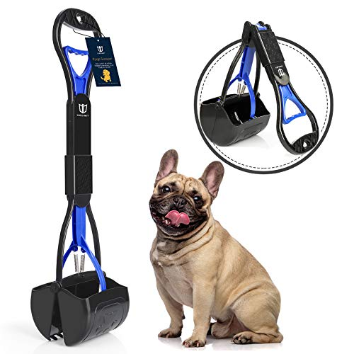 DEGBIT Non-Breakable Pet Pooper Scooper for Large and Small Dogs, Long Handle Portable Dog Pooper Scooper, High Strength Materials & Durable Spring, Easy to Use, Great for Lawns, Grass & Gravel (Blue)