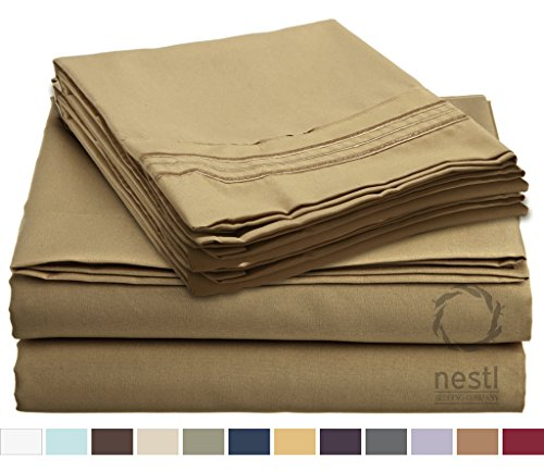 HIGHEST QUALITY Bed Sheet Set, #1 on Amazon, Full Size, Came Gold, - Super Soft, Silky Coziest Sheet – SALE! - Better than Cotton, Will Fit Deep Pocketed Mattresses - Wrinkle, Stain and Fade Resistant Hypoallergenic Fabric - Set Includes Luxury Fitted and Flat Sheets and Pillow Cases. Ideal for Your Bed! Best for Your Bedroom, Guest or Children's Room, Vacation Home and RV - Makes an Excellent Gift - LIFETIME 100% Included - Nestl Bedding