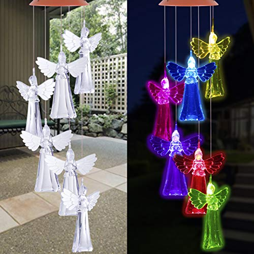 ME9UE Angel Solar Wind Chimes, Changing Color Angel Wind Chime Lights, Romantic Angels Wind Bell, Outdoor Waterproof Solar Powered Angel Light for Home/Yard/Night/Garden/Lawn/Party/Gift/Festival Decor