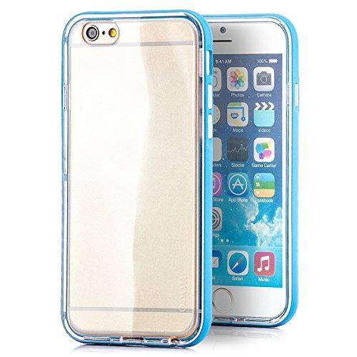Preisvergleich Produktbild HOCO. Apple iPhone 6 / 6S Hülle Hybrid Slim Case und Aluminium Bumper Rahmen Cover Schutzhülle Transparent - Blau
