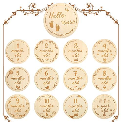 Baby Monatliche Holzkarten, Neugeborene Meilenstein Baby Geschenksets Monatliche Meilensteinkarten Baby im ersten Jahr Wachstum Foto Bild Gedenk Requisiten, Doppelseitige Holzscheiben, Set von 13