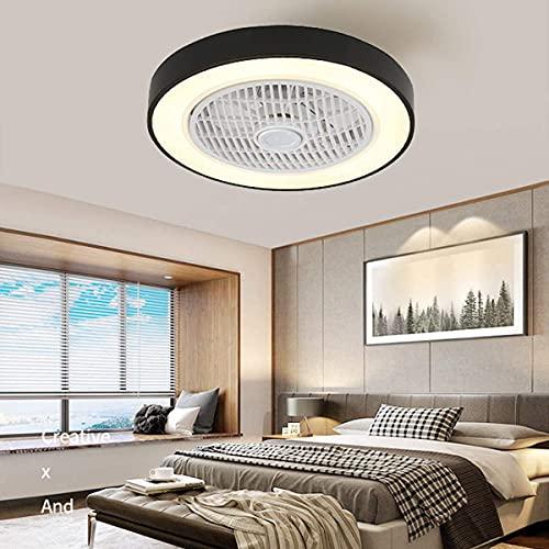 QWQW Ventiladores de Techo de 50 cm, luz con 5 Ventiladores, aspas Invisibles, Control Remoto, LED, 3 Colores, Regulable, iluminación de bajo Perfil, Regulable para Sala de Estar, Dormitorio, Comedor