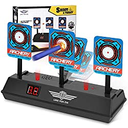 ELECTRONIC SCORING - Digital scoreboard tracks and displays score; it will fall down when hitting the target and hit 3 targets to get 1 point. Perfect for Nerf guns N-strike Elite/Mega and Rival Series. AUTOMATIC REBOUND INTO POSITION - Target intern...