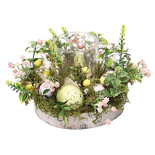 MagiDeal Pasqua Candela Titolare Anelli con Decorativo Floreale Uova, Decorativo di Vetro Supporto di Candela Tealight Set Mini Candela Anelli Corone da Tavolo