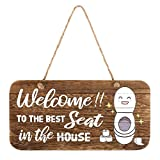 whoaon Bathroom Wall Decor Sign, Welcome to The Best Seat in The House. Real Pallet Rustic Wood Bathroom Sign for Rustic Bathroom Decor, Farmhouse Bathroom Wall Decor with Toilet Sign. 6x12 inch