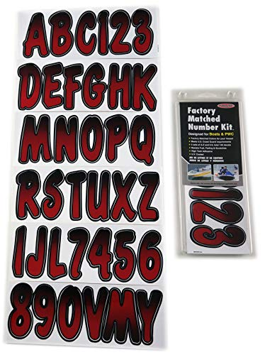 Hardline Products Series 200 Factory Matched 3-Inch Boat & PWC Registration Number Kit, Burgundy/Black