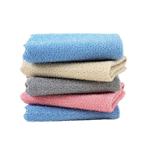 1 paquete de 5 paños de limpieza de microfibra de cocina con diseño de doble superficie, ligero, absorbente de agua, sin residuos, toalla de limpieza de platos, toalla de cocina, ideal para cocina