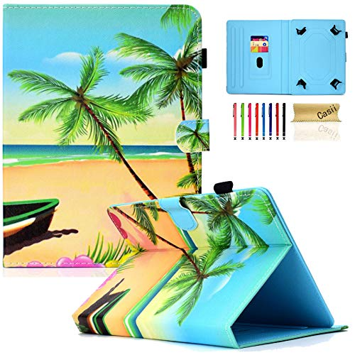 Universal Case for 10 Inch Tablet, Casii Protective PU Leather Magnetic Stand Cover [Cards Slots] for 9.5-10.5 New iPad 9.7,Air 1 2,Amazon Fire HD 10,Samsung Tab,Asus,Lenovo Tab, Beach