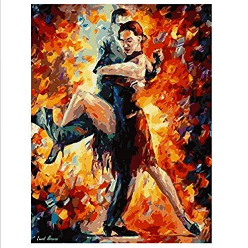 Ölgemälde von Numbers Malen nach Zahlen DIY 40x50cm Abstrakt tanzen Tango Figur Leinwand Hochzeit Dekoration Kunst Bild Geschenk-with Frame