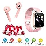 Montre Connectée Femmes Homme Enfant Smartwatch Etanche Cardiofréquencemètre + Sport Casques sans Fil Bluetooth Écouteurs 5.0 sans Fil dans l'oreille en Cours d'exécution(Rose)