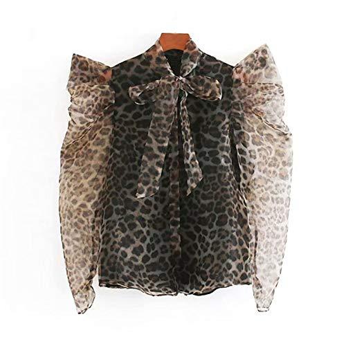 LFMDSY Frauen Vintage Leopardenmuster Organza Blusen Mode Fliege Kragen Puffärmel Bluse Shirt Chic Top L Leopard