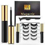 Magnetic Eyelashes with Eyeliner 5 Pairs Reusable Fake Eyelashes No Glue 2 Only Magnetic Eyeliner 3D eyelash sets (Classic black)