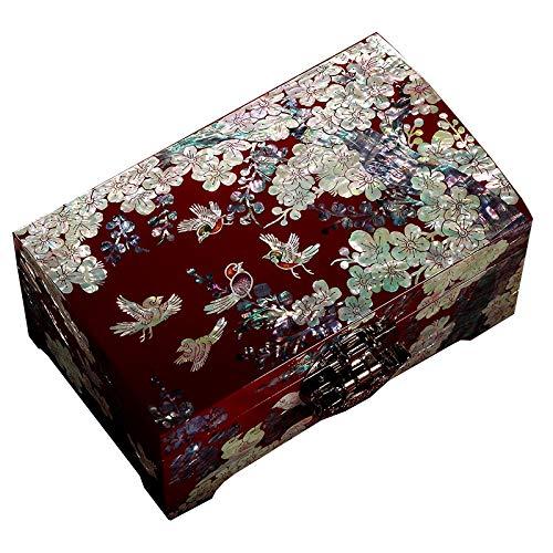 WNN URG - Caja de joyería de madera de gran capacidad, regalo de boda, joyería de alta calidad, joyería de estilo europeo con cerradura URG (color: A)