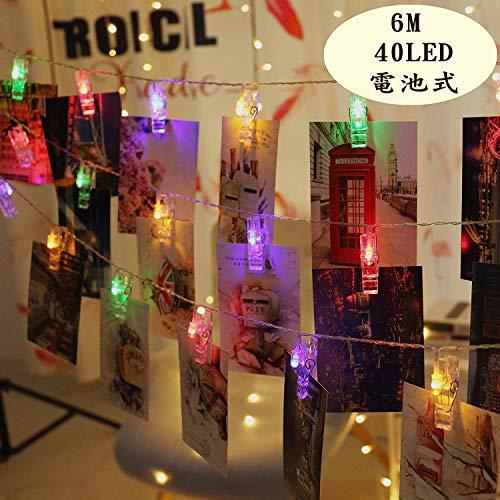 ストリングライト 写真飾りライト 6M 40LED イルミネーションライト DIY 吊り下げる飾りライト 電飾 室内 室外 写真クリップ 防水 誕生日/クリスマス/祝日/パーティー/結婚式 おしゃれ 電池式 カラー 星
