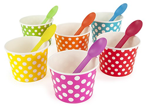 Rainbow Paper Polka Dot Ice Cream Cups 12 oz (Qty 60) & Matching Plastic Spoons (Qty 60) Set (by BrightandBold)