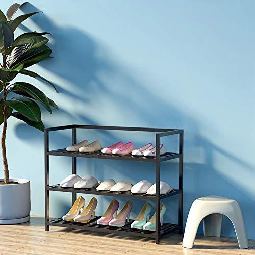 FZX514 Étagère À Chaussures De 3 Niveaux, Porte-Chaussures en Métal pour 9-12 Paires De Chaussures, pour Salon, Entrée, Couloir, Vestiaire, 60 X 26 X 52 Cm,Noir