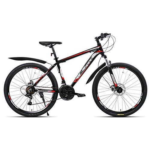Bicicleta de suspensión de aleación de aluminio de 26 pulgadas, bicicleta de montaña de freno de disco doble de 21 velocidades, para entorno urbano y desplazamiento hacia y desde el trabajo
