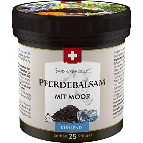 SwissMedicus - Pferdebalsam - mit Moor kühlend 250 ml - Pferdesalbe - kühlender Massage-Gel für Rücken und Gelenke, Moor und 25 Kräuter - Traditionelle Schweizer Rezeptur - gelenkschmerzen salbe